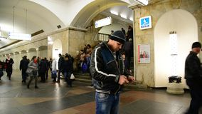Moscow, Russia - March 10.2016. Metro station Kurskaya ring. Moscow, Russia - March 10.2016. A Metro station Kurskaya ring stock video