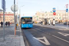 Modern city public bus of Moscow Stock Image