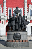 Moscow, Russia - March 14, 2016. Monument to founders of Russian railroad on background of Kazansky station Royalty Free Stock Photos
