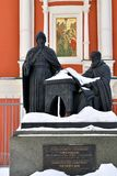 Moscow, Russia - March 17. 2018. Monument to Greek enlightenment brothers Likhudam Stock Photos