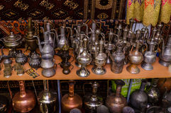 Moscow, Russia - March 19, 2017: Old traditional oriental brass vases and jugs at the bazaar Stock Photography