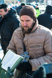 Orthodox activists read Bible aloud on picket to free Riot stock photography