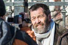 Political prisoner Sergei Mokhnatkin being interviewed on picket Stock Image