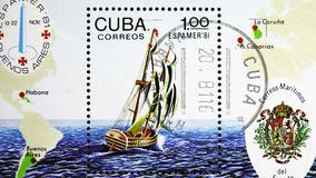 ESPAMER - 81, 1st Spanish state sailboat for postal ties, Philatelic Exhibitions serie, circa 1981. MOSCOW, RUSSIA - MARCH 23, 2019: Postage stamp printed in stock images