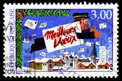 Best wishes, serie, circa 1997. MOSCOW, RUSSIA - MARCH 23, 2019: Postage stamp printed in France shows Best wishes, serie, circa 1997 royalty free stock photography