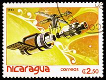 Satellites, space vehicles, Spaceflight serie, circa 1982. MOSCOW, RUSSIA - MARCH 23, 2019: Postage stamp printed in Nicaragua shows Satellites, space vehicles stock photography