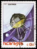 Satellites, space vehicles, Spaceflight serie, circa 1982. MOSCOW, RUSSIA - MARCH 23, 2019: Postage stamp printed in Nicaragua shows Satellites, space vehicles royalty free stock images