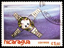 Satellites, space vehicles, Spaceflight serie, circa 1982. MOSCOW, RUSSIA - MARCH 23, 2019: Postage stamp printed in Nicaragua shows Satellites, space vehicles stock photo