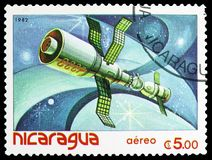 Satellites, space vehicles, Spaceflight serie, circa 1982. MOSCOW, RUSSIA - MARCH 23, 2019: Postage stamp printed in Nicaragua shows Satellites, space vehicles stock image