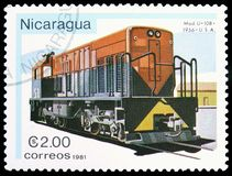 U-10b, USA 1956, Locomotives serie, circa 1981. MOSCOW, RUSSIA - MARCH 23, 2019: Postage stamp printed in Nicaragua shows U-10b, Usa 1956, Locomotives serie royalty free stock photography