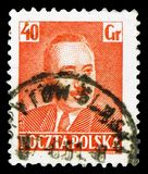 Boleslaw Bierut 1892-1956, President, serie, circa 1950. MOSCOW, RUSSIA - MARCH 23, 2019: Postage stamp printed in Poland shows Boleslaw Bierut 1892-1956 stock images