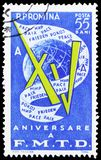 15th Anniversary of World Democratic Youth Federation, serie, circa 1960. MOSCOW, RUSSIA - MARCH 23, 2019: Postage stamp printed in Romania devoted to 15th royalty free stock photography