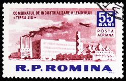 Wood works (Tirgul-Jiu), Socialism construction in R.P.R. serie, circa 1963. MOSCOW, RUSSIA - MARCH 23, 2019: Postage stamp printed in Romania shows Wood works ( royalty free stock photos