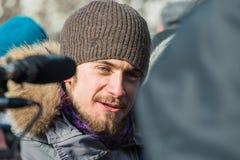 Pyotr Verzilov, Nadezhda Tolokonnikova's husband, being intervie Stock Photo
