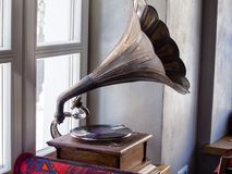Retro obsolete gramophone exhibits in the museum of the telephone. MOSCOW, RUSSIA - MARCH 20, 2018: Retro obsolete gramophone exhibits in the museum of the Stock Photography