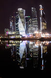 Moscow, Russia, March, 28, 2016. Russian scene: International Business Centre `Moscow-City` at night Royalty Free Stock Photography
