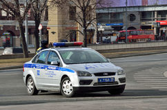 Moscow, Russia, March, 20, 2016, Russian scene: Nobody, car of Traffic police Royalty Free Stock Photos