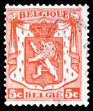 Precanceled small coat of arms, serie, circa 1939. MOSCOW, RUSSIA - MARCH 30, 2019: A stamp printed in Belgium shows Precanceled small coat of arms, serie, circa stock photography