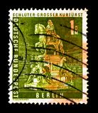 Statue of Great Elector, Berlin cityscapes serie, circa 1956. MOSCOW, RUSSIA - MARCH 18, 2018: A stamp printed in Berlin shows Statue of Great Elector, Berlin royalty free stock image