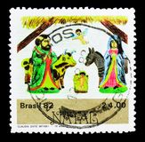 Christmas cartoons, serie, circa 1982. MOSCOW, RUSSIA - MARCH 18, 2018: A stamp printed in Brazil shows Christmas cartoons, serie, circa 1982 royalty free stock photography
