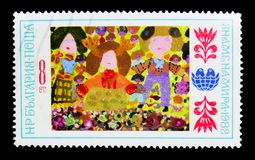 \'Children\', International Children\'s Assembly \'Banner of Peace\'(. MOSCOW, RUSSIA - MARCH 18, 2018: A stamp printed in Bulgaria shows \'Children\' Royalty Free Stock Photos