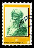 Old Man Head, by Rembrandt, Paintings serie, circa 1975. MOSCOW, RUSSIA - MARCH 18, 2018: A stamp printed in Bulgaria shows Old Man Head, by Rembrandt, Paintings stock photo
