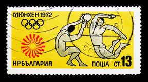 Volleyball, Summer Olympics 1972, Munich serie, circa 1972. MOSCOW, RUSSIA - MARCH 18, 2018: A stamp printed in Bulgaria shows Volleyball, Summer Olympics 1972 Royalty Free Stock Photos