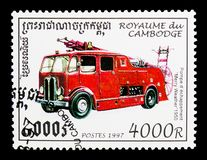Merry Weather, 1950, Fire Trucks serie, circa 1997. MOSCOW, RUSSIA - MARCH 18, 2018: A stamp printed in Cambodia shows Merry Weather, 1950, Fire Trucks serie royalty free stock photography