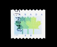 Maple Leaf, Definitives 2000-2004 serie, circa 2002. MOSCOW, RUSSIA - MARCH 18, 2018: A stamp printed in Canada shows Maple Leaf, Definitives 2000-2004 serie royalty free stock photo