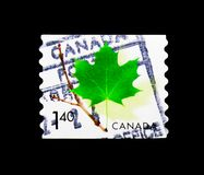 Maple Leaf, Definitives 2000-2004 serie, circa 2003. MOSCOW, RUSSIA - MARCH 18, 2018: A stamp printed in Canada shows Maple Leaf, Definitives 2000-2004 serie royalty free stock image