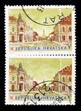 Bjelovar, Croatian Towns (III) serie, circa 2007. MOSCOW, RUSSIA - MARCH 18, 2018: A stamp printed in Croatia shows Bjelovar, Croatian Towns (III) serie, circa royalty free stock images