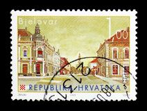 Bjelovar, Croatian Towns (III) serie, circa 2007. MOSCOW, RUSSIA - MARCH 18, 2018: A stamp printed in Croatia shows Bjelovar, Croatian Towns (III) serie, circa royalty free stock photography