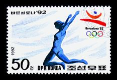 Long jump, Summer Olympics Barcelona (II) serie, circa 1992. MOSCOW, RUSSIA - MARCH 18, 2018: A stamp printed in Democratic People's Republic of Korea shows Long Royalty Free Stock Photo
