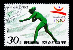 Shot-put, Summer Olympics Barcelona (II) serie, circa 1992. MOSCOW, RUSSIA - MARCH 18, 2018: A stamp printed in Democratic People's Republic of Korea shows Shot Royalty Free Stock Photos