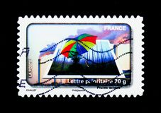 Acidic Rain, Water Protection serie, circa 2010. MOSCOW, RUSSIA - MARCH 18, 2018: A stamp printed in France shows Acidic Rain, Water Protection serie, circa 2010 stock images