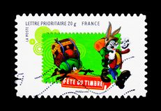Bugs Bunny, Looney Tunes serie, circa 2009. MOSCOW, RUSSIA - MARCH 18, 2018: A stamp printed in France shows Bugs Bunny, Looney Tunes serie, circa 2009 royalty free stock photography