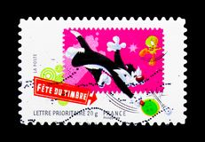 Gros minet, Looney Tunes serie, circa 2009. MOSCOW, RUSSIA - MARCH 18, 2018: A stamp printed in France shows Gros minet, Looney Tunes serie, circa 2009 royalty free stock image