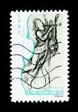 Lyre, Music book serie, circa 2010. MOSCOW, RUSSIA - MARCH 18, 2018: A stamp printed in France shows Lyre, Music book serie, circa 2010 Royalty Free Stock Photos