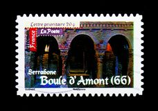Roman\'s Art - Boule d\'Amont, Antic Art serie, circa 2010. MOSCOW, RUSSIA - MARCH 18, 2018: A stamp printed in France shows Roman\'s Art - Boule d\'Amont, Antic Stock Photo