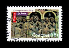 Roman's Art - Conques, Antic Art serie, circa 2010. MOSCOW, RUSSIA - MARCH 18, 2018: A stamp printed in France shows Roman's Art - Conques, Antic Art Royalty Free Stock Photos