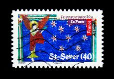 Roman's Art - Saint-Sever, Antic Art serie, circa 2010. MOSCOW, RUSSIA - MARCH 18, 2018: A stamp printed in France shows Roman's Art - Saint-Sever, Antic Art Stock Photos