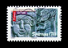 Roman\'s Art - Tournus, Antic Art serie, circa 2010. MOSCOW, RUSSIA - MARCH 18, 2018: A stamp printed in France shows Roman\'s Art - Tournus, Antic Art serie Stock Photography