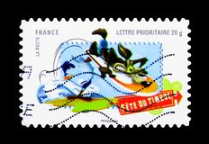Vil Coyotte, Looney Tunes serie, circa 2009. MOSCOW, RUSSIA - MARCH 18, 2018: A stamp printed in France shows Vil Coyotte, Looney Tunes serie, circa 2009 Royalty Free Stock Photo