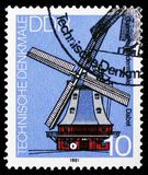 Mill Dabel, Technical Monuments : Windmills serie, circa 1981. MOSCOW, RUSSIA - MARCH 30, 2019: A stamp printed in Germany, Demoscratic Republic shows Mill Dabel stock image