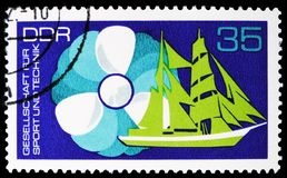 Propeller, sail training ship, Association for Sport and Technology serie, circa 1972. MOSCOW, RUSSIA - MARCH 30, 2019: A stamp printed in Germany, Demoscratic royalty free stock image