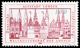 Hanseatic City of Lübeck World Heritage 1987, UNESCO World Heritage Sites serie, circa 1990. MOSCOW, RUSSIA - MARCH 30, 2019: A stamp printed in Germany stock photography