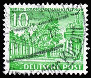Colonnade at the Kleistpark, Schöneberg, Berlin buildings serie, circa 1949. MOSCOW, RUSSIA - MARCH 30, 2019: A stamp printed in Germany shows Colonnade at royalty free stock photo