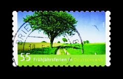 Spring Break, Post, Spring serie, circa 2012. MOSCOW, RUSSIA - MARCH 18, 2018: A stamp printed in Germany shows Spring Break, Post, Spring serie, circa 2012 royalty free stock images