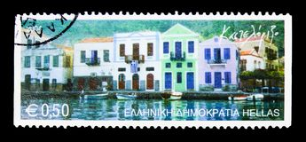 Kastelorizo, Greek Islands serie, circa 2004. MOSCOW, RUSSIA - MARCH 18, 2018: A stamp printed in Greece shows Kastelorizo, Greek Islands serie, circa 2004 stock images