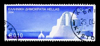 Mykonos, Greek Islands serie, circa 2004. MOSCOW, RUSSIA - MARCH 18, 2018: A stamp printed in Greece shows Mykonos, Greek Islands serie, circa 2004 stock photos